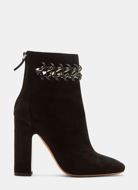 Valentino Whip Stitched Chain Suede Ankle Boots