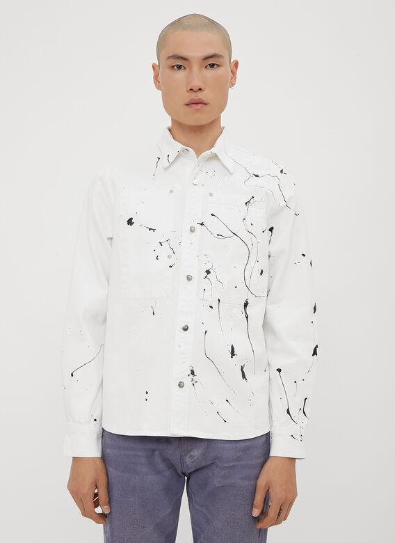 Paint Splatter Worker Shirt In White by Vyner Articles