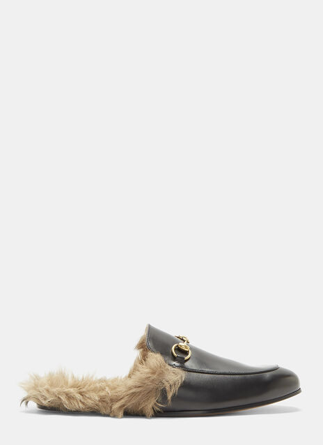 Gucci Princetown Lamb Fur Trimmed Slipper Shoes