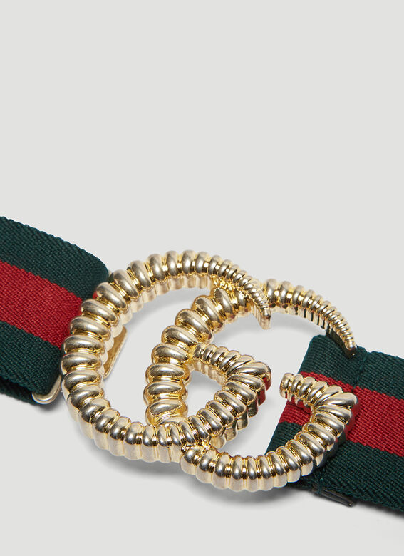 Gucci Double G Torchon Buckle Web Elastic Belt