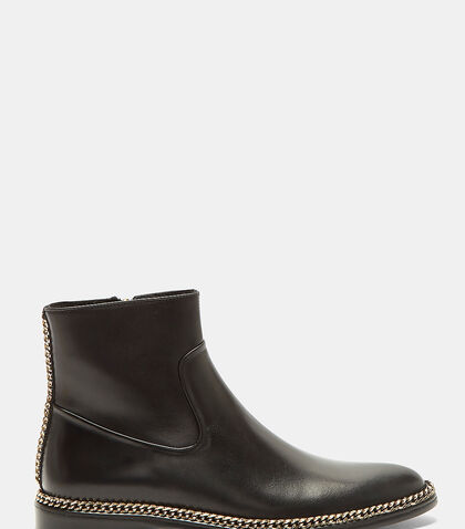 Curb Chain Leather Ankle Boots