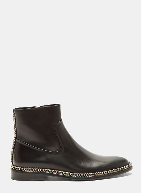 Lanvin Curb Chain Leather Ankle Boots