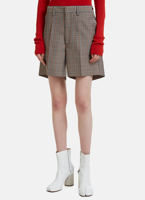 Maison Margiela Micro Check Tailored Mini Shorts