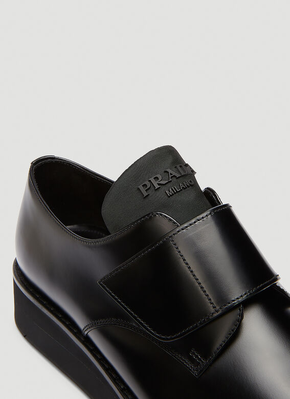 Prada Brushed leather Derby shoes with shoe strap 5