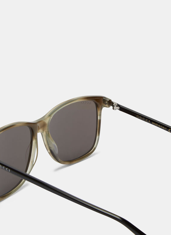 Gucci Marbled Contrast Arm Square Sunglasses