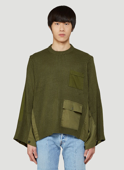 Bonum Contrast-Panel Knitted Sweater