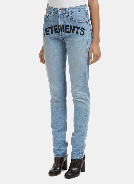 Vetements Levi's Edition Logo Embroidered Skinny Fit Jeans