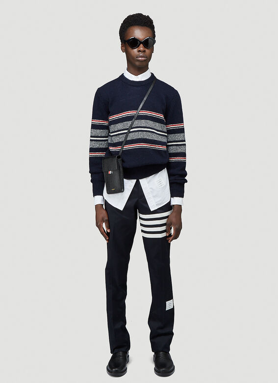Thom Browne JERSEY SEASONAL BIRDSEYE JACQUARD CRICKET STRIPE RELAXED FIT CREWNECK PULLOVER IN MOHAIR TWEED 2