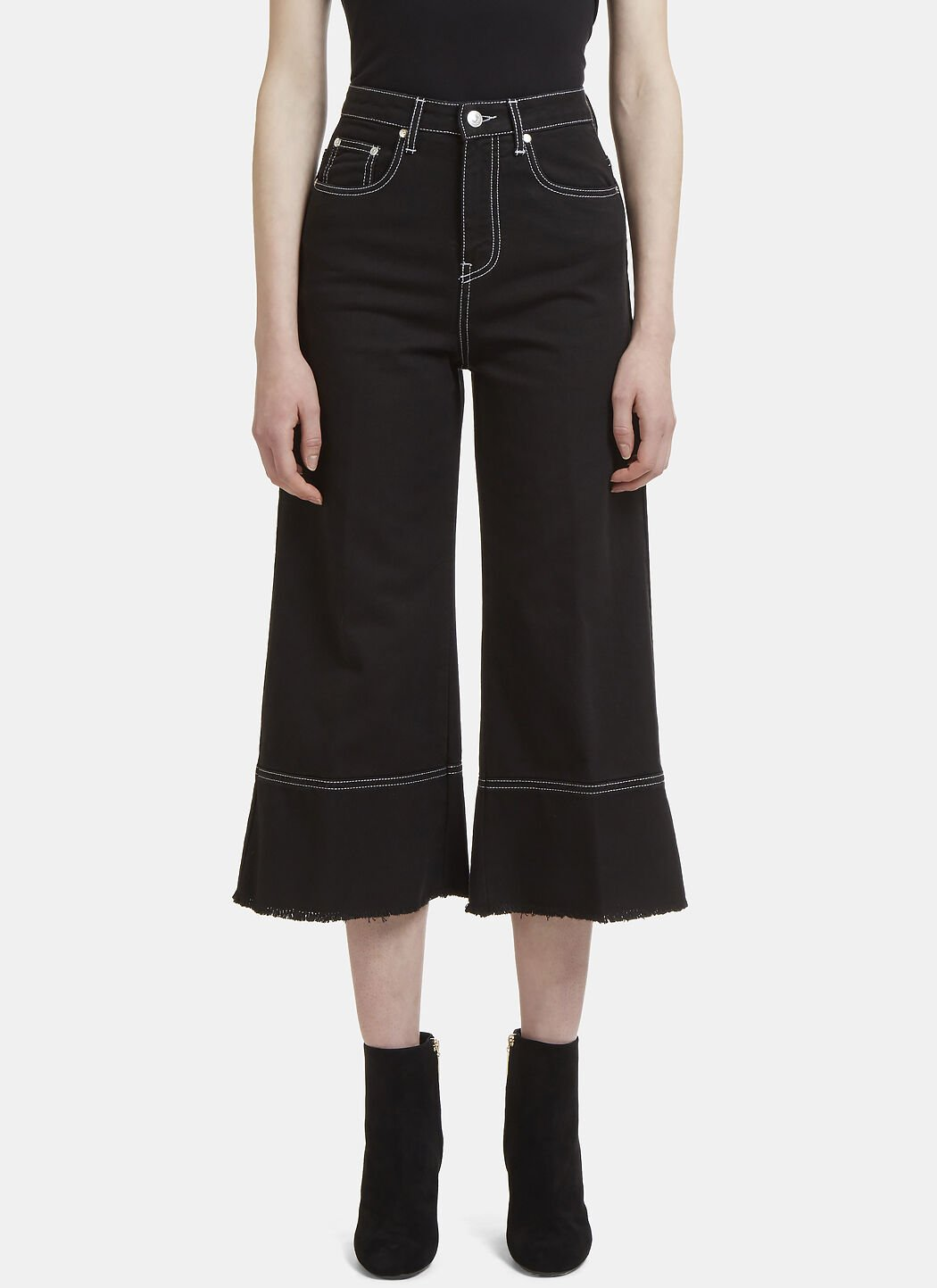 Frayed Wide Leg Cropped Jeans Msgm