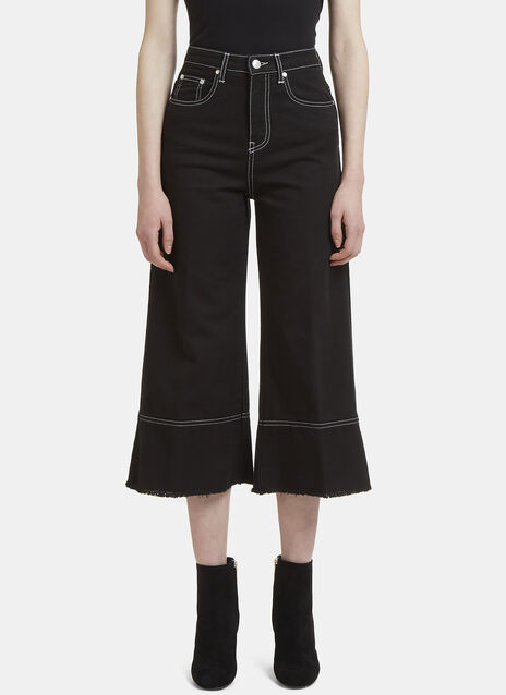 MSGM Frayed Wide Leg Cropped Jeans