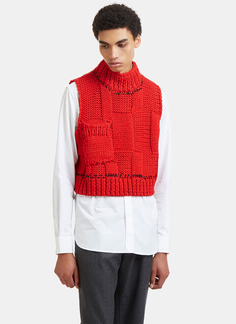 Blow-Up Sleeveless Knit Patchwork Gilet