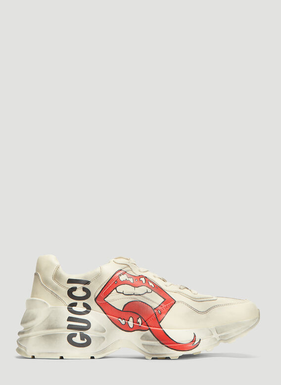 ae32f0cd8 Gucci Rhyton Mouth Leather Sneakers in White | LN-CC