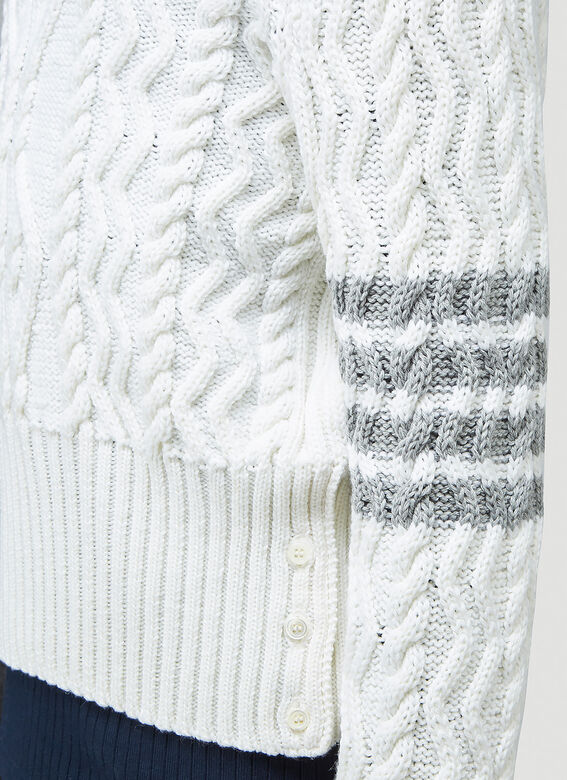 Thom Browne CLASSIC ARAN CABLE CREW NECK PULLOVER W/ 4 BAR SLEEVE IN FINE MERINO WOOL 5