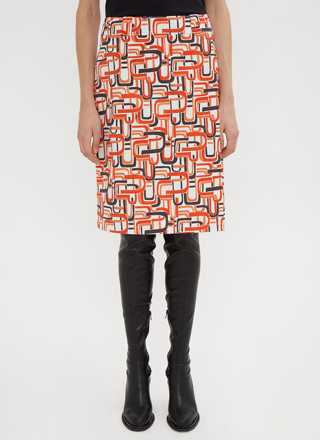 Prada Retro Print Wrap Skirt