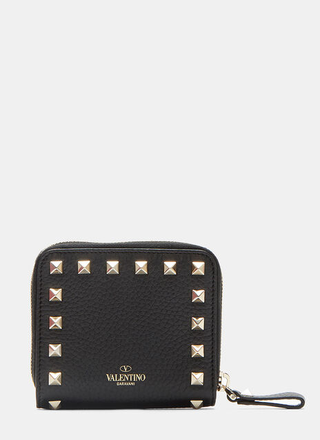 Valentino Pyramid Stud Zipped French Wallet