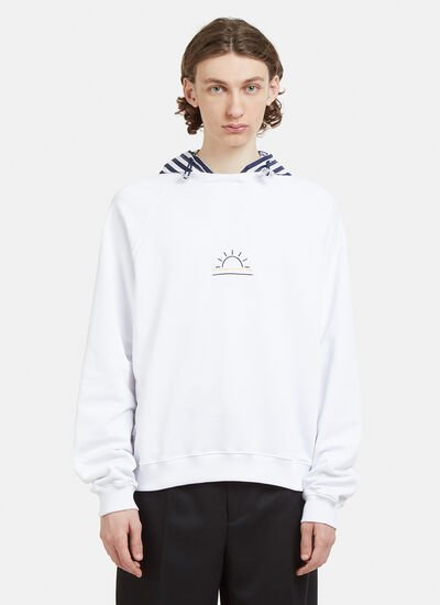 Sunnei Hooded Striped Embroidered Sweater