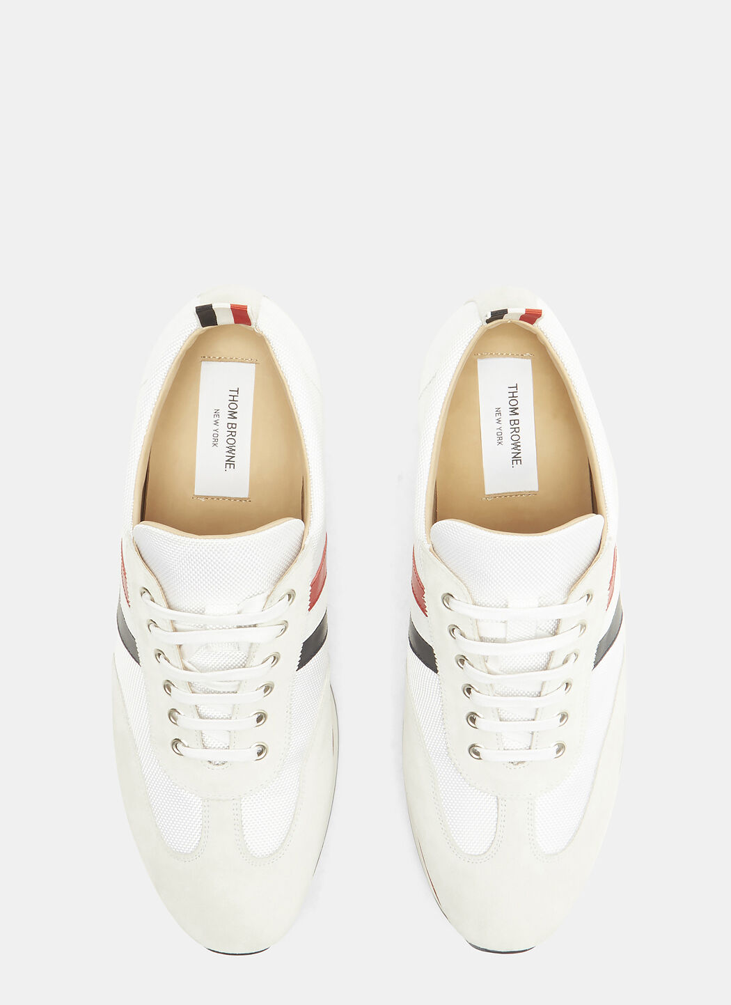 Suede Panelled Striped Web Running Sneakers Thom Browne P9E9UR