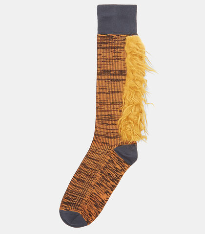 Furry Two-Tone Striped Socks