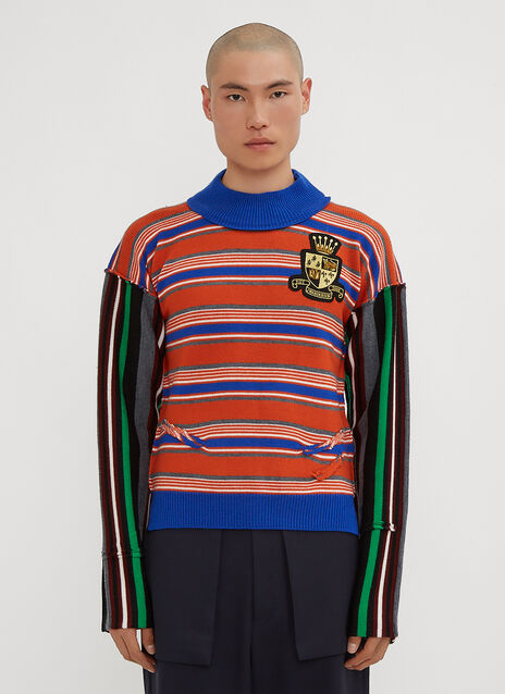 JW Anderson Deconstructed Logo Patch Stripe Jumper