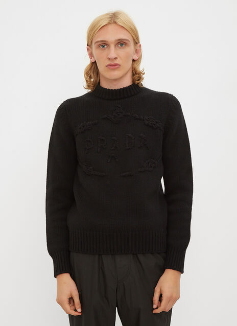 Prada Embroidered Logo Knit Sweater