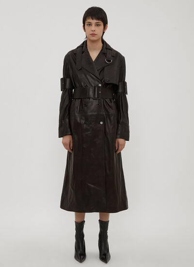 Yang Li Double Breasted Leather Trench Coat