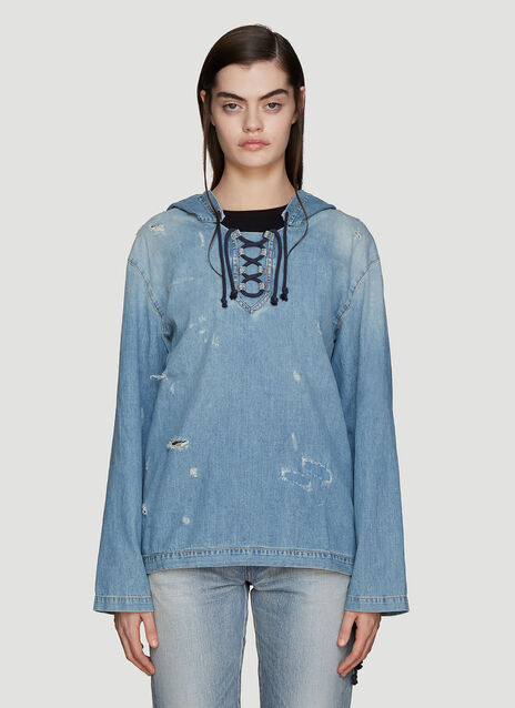 Saint Laurent Destroyed Lace-Up Denim Sweatshirt