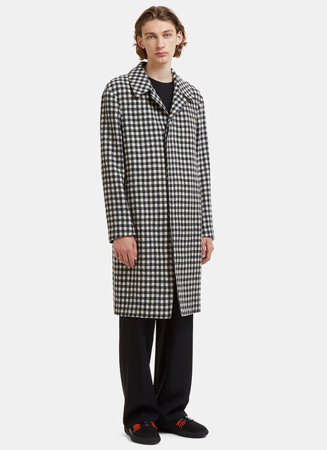 Single-Breasted Checked Wool Coat