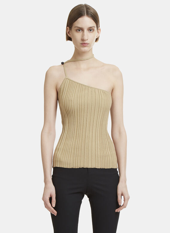 4e6fc44541a Jacquemus Pinhao One Shoulder Top in Brown | LN-CC