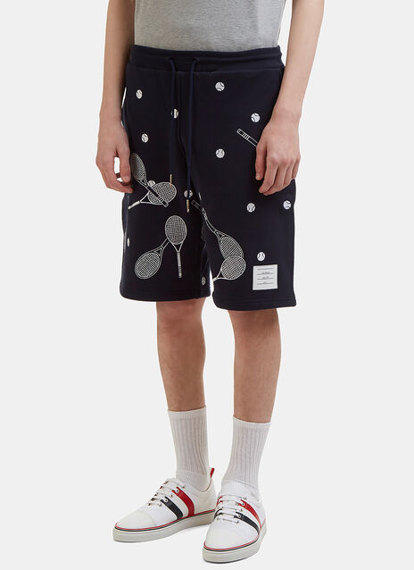 Thom Browne Racket Embroidered Cotton-Jersey Shorts