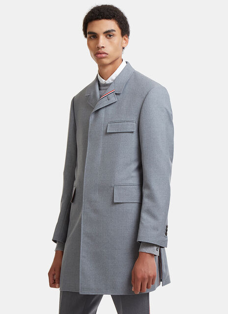 Chesterfield Striped Web Tailored Twill Coat