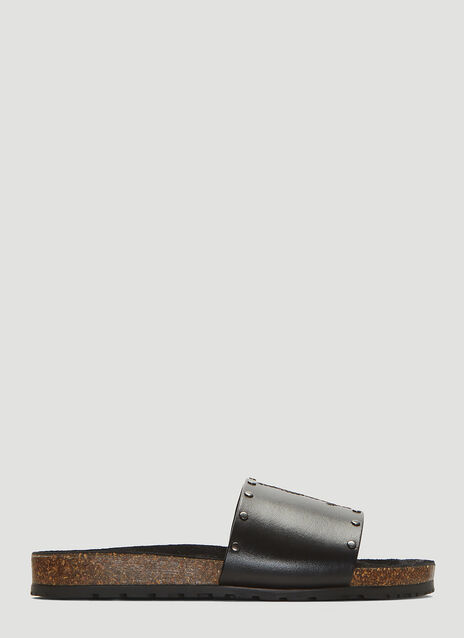 Saint Laurent Jimmy Logo Stud Slides