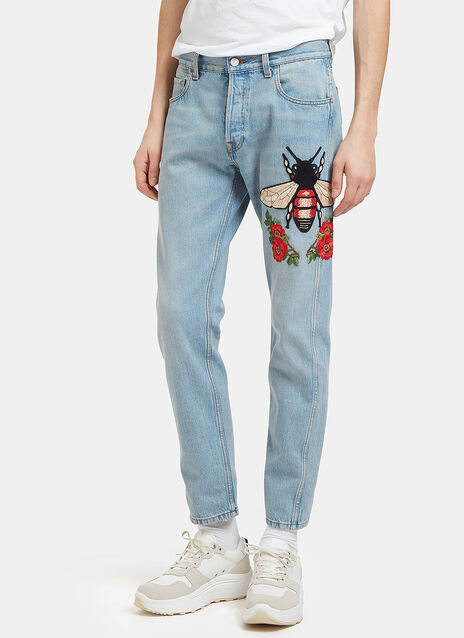 Embroidered Floral Fly Patch Jeans