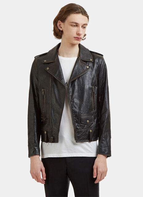 Saint Laurent Studded Lightening Bolt Classic Leather Jacket