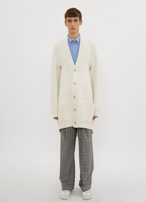 Oversized Cardigan In White by Hed Mayner