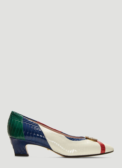 9ae4aadc6ca Gucci Crystal GG Snakeskin Pumps