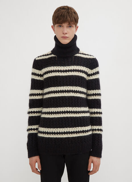 Saint Laurent Stripe Turtle Neck Knit Sweater