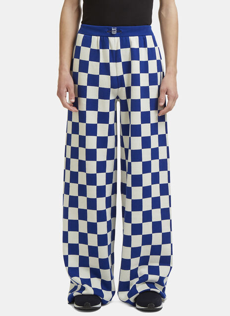 Sunnei X LN-CC Wide Leg Checked Knit Pants