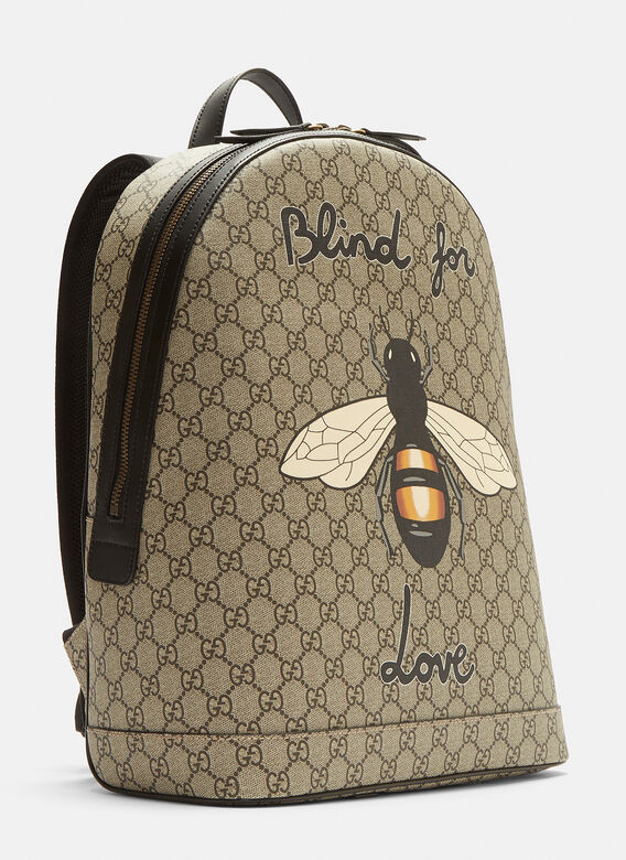 Gucci Bee Print GG Supreme Backpack in Brown  496999b759f7b
