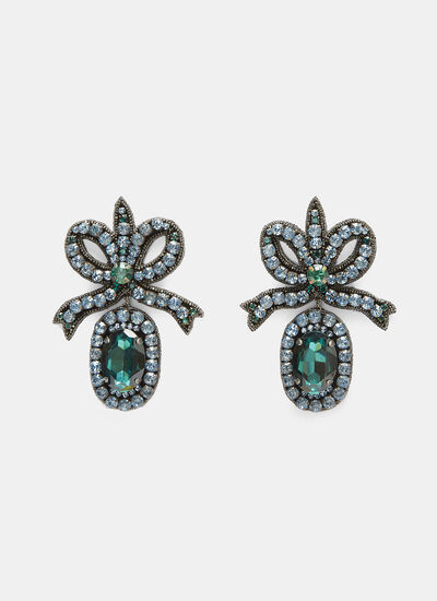 Gucci Crystal-Embroidered Bow Earrings