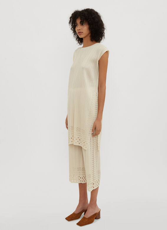 Pleats Please Issey Miyake Dots Lace Trousers