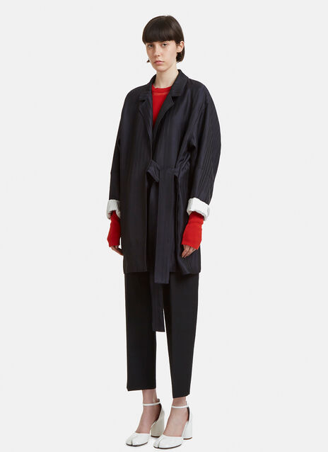 Acne Studios Belted striped twill coat