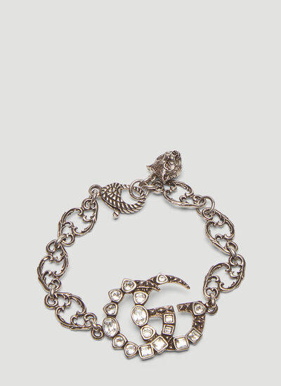 Gucci Crystal Double G Chain Bracelet
