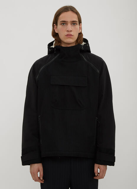 Lanvin Hooded Half-Zip Shearling Coat