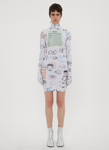 Vetements Receipt Print Glove Sleeve Dress