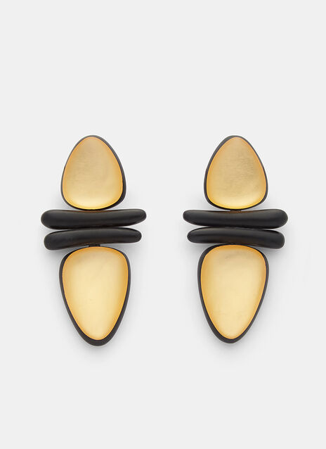 Monies 7798 Ebony and Gold Leaf Clip-On Earrings