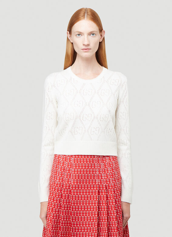 GUCCI GG-Knit Cropped Sweater in White