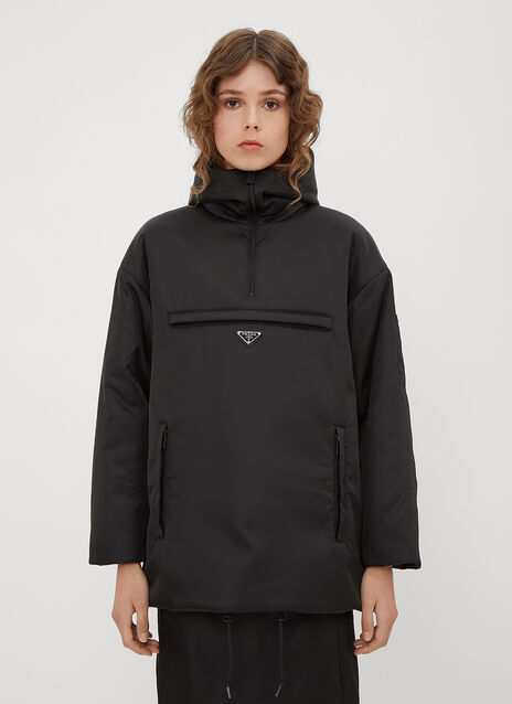 Prada Hooded Nylon Half-Zip Padded Jacket