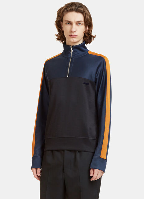 Colour-Blocked Zip-Up Sweater