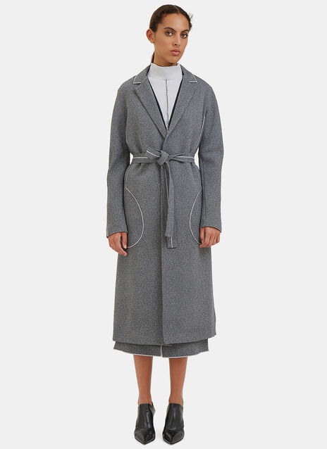 Hockin White Noise Overlocked Seam Trench Coat