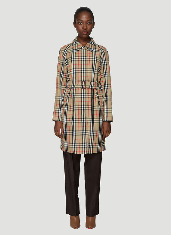 b1fe81481ef9 Burberry Vintage Check Nylon Belted Car Coat | LN-CC
